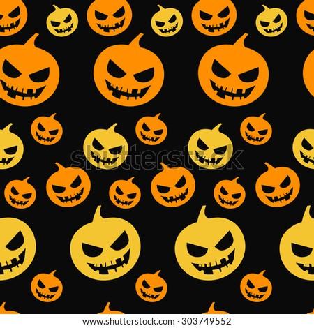 Halloween seamless pattern with pumpkin,pumpkin on a black background,vector illustration - stock vector