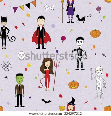 Halloween seamless with  kids in costumes - stock vector
