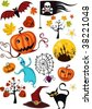 halloween set - stock vector
