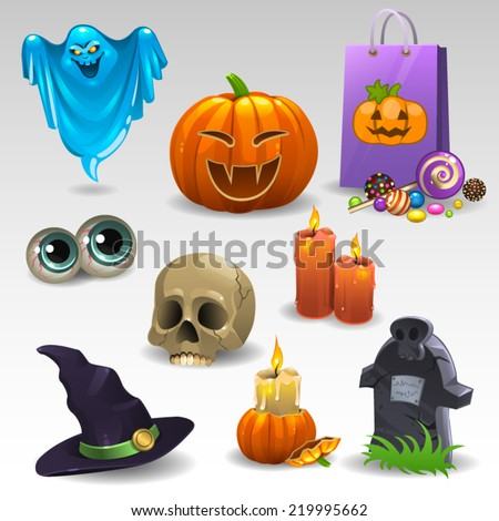 Halloween set 2 - stock vector