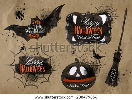 Halloween set, drawn Halloween symbols pumpkin, broom, bat, spider webs, lettering and stylized drawing in craft paper - stock vector