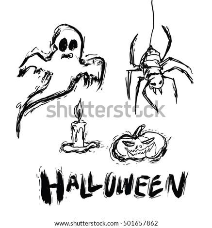 Halloween Set Drawn Halloween Symbols Pumpkin Stock Vector ...