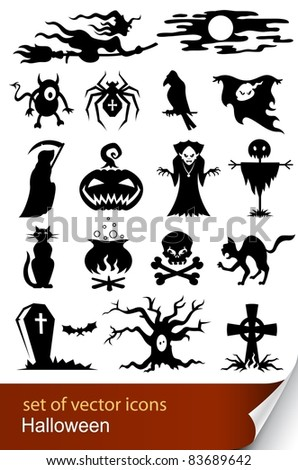 halloween set icon vector illustration isolated on white background - stock vector
