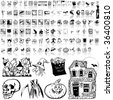 Halloween set of black sketch. Part 7. Isolated groups and layers. - stock vector