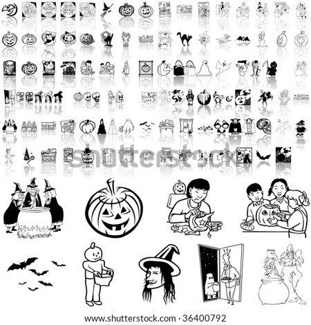 Halloween set of black sketch. Part 1. Isolated groups and layers. - stock vector