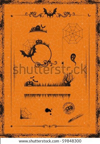 halloween set of design elements - stock vector