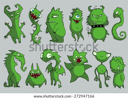 Halloween set of illustrations of different green monsters, bacteria, dragons, germs, aliens, devils and ghosts in black silhouette