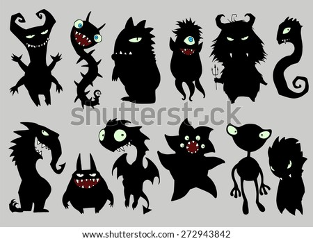 Halloween set of illustrations of different monsters, bacteria, dragons, germs, aliens, devils and ghosts in black silhouette in black silhouette