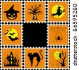 Halloween set of stamp on orange black background - stock vector
