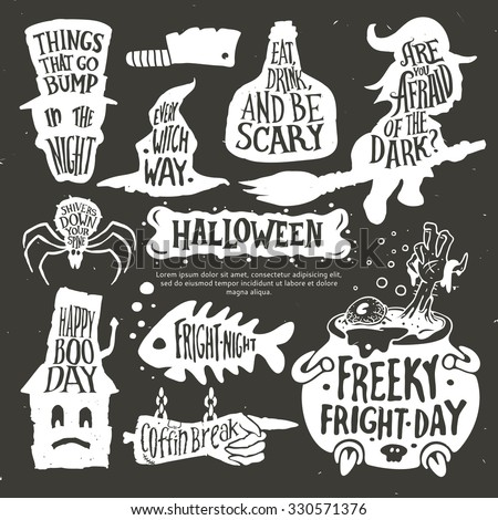 Halloween set. Typography poster. Calligraphy lettering vector illustration. - stock vector
