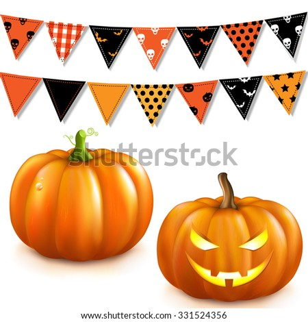 Halloween Set With Gradient Mesh, Vector Illustration - stock vector