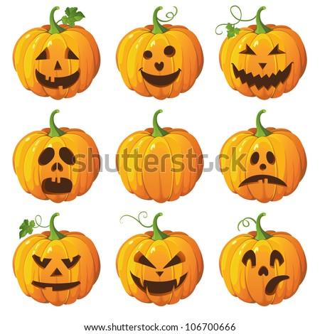 Halloween set with pumpkins - stock vector