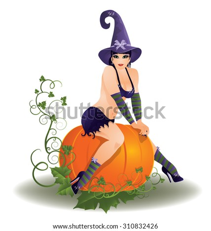 Halloween sexy witch, vector illustration