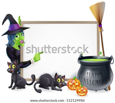 Halloween sign background with cartoon witch and happy Halloween cauldron - stock vector