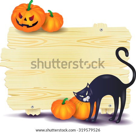 Halloween signboard with black cat and pumpkins, vector illustration  - stock vector