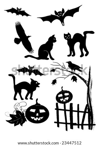 Halloween silhouettes set, element for design, vector illustration - stock vector