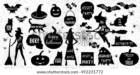Halloween Silhouettes.Witch, pumpkin, black cat.Halloween party. Spider sticker.Trick or treat. Vector icons.