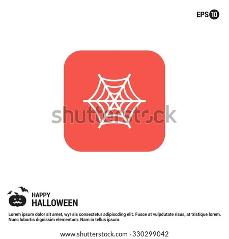 Halloween Spider web icon. Halloween Flat Color Icon.  simple minimal, flat, solid, mono, monochrome, plain, contemporary style. Vector illustration web internet design elements