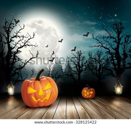 Halloween spooky background. Vector - stock vector
