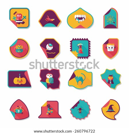 Halloween sticker banner flat background set, eps10 - stock vector