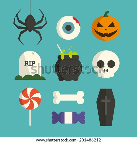 Halloween symbol illustration set vector - stock vector