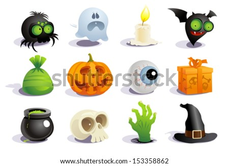 Halloween symbols collection. - stock vector
