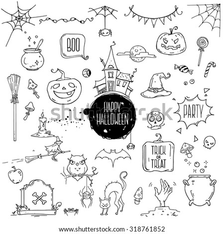 Halloween symbols. Hand drawn traditional illustrations: carved pumpkin, spider webs, witch with hat on a broom, bat, zombie hand, skull, candle, magic potion pot. Isolated design elements on white. - stock vector
