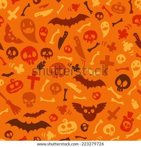Halloween Symbols Seamless Pattern Orange. Editable pattern in swatches. - stock vector