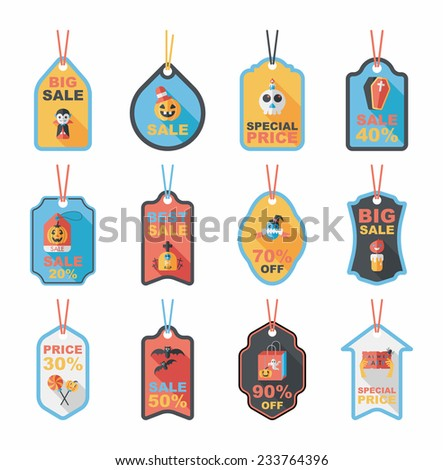 Halloween tag banner flat background set, eps10 - stock vector