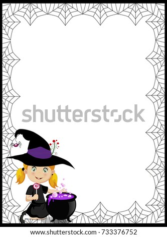 Halloween Template With Space For Text And Illustration Of Little Witch  Girl With Cauldron Framed With