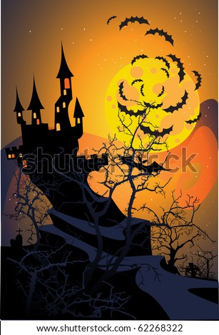Halloween terrible castle