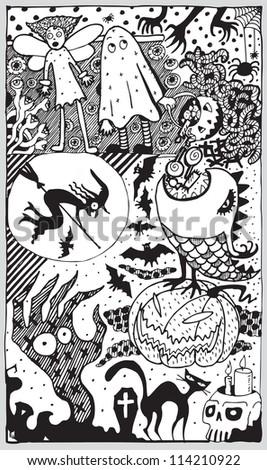 Halloween Thematic Comics (hand drawn vector) - stock vector