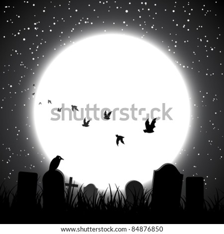 Halloween theme background with full moon shining upon the cemetery - stock vector