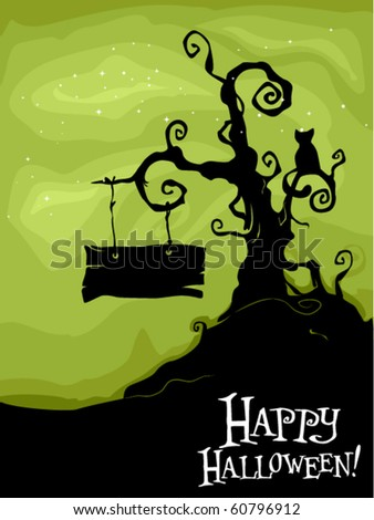 Halloween-themed Design Featuring a Dead Tree with a Black Cat Sitting on One of its Branches and a Sign Board on Another - Vector - stock vector