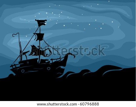 Halloween-Themed Design Featuring a Ghost Ship Sailing in the Dark Seas - Vector - stock vector