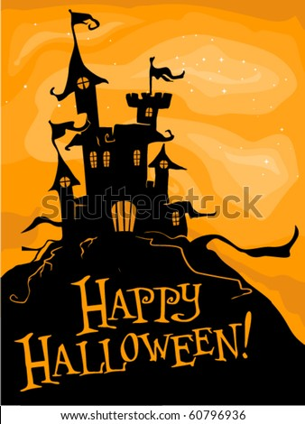 Halloween-themed Design Featuring a Haunted Castle on Top of a Hill - Vector - stock vector