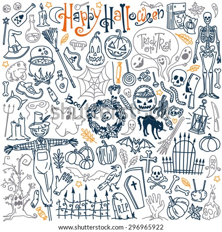 Halloween themed doodle set. Traditional and popular symbols - carved pumpkin, party costumes, witches, ghosts, monsters, vampires, skeletons, skulls, candles, bats. Isolated over white background. - stock vector