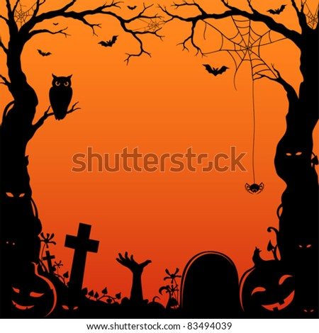 halloween-themed paper-cut style border with space for custom text. - stock vector