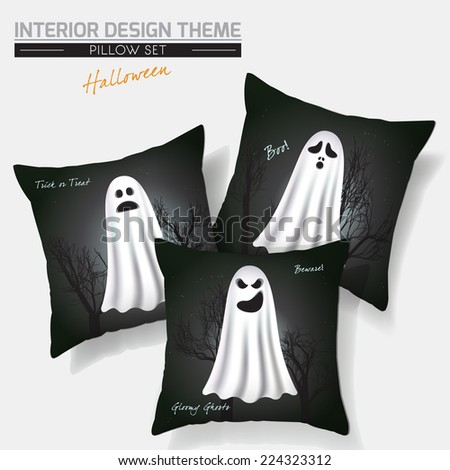 Halloween Throw Pillow set design. Vector template. Flying Spooky Ghosts with scary & funny faces against dark Gothic background. Creative Sofa Pillows. Vector design is layered, editable. Sample text - stock vector