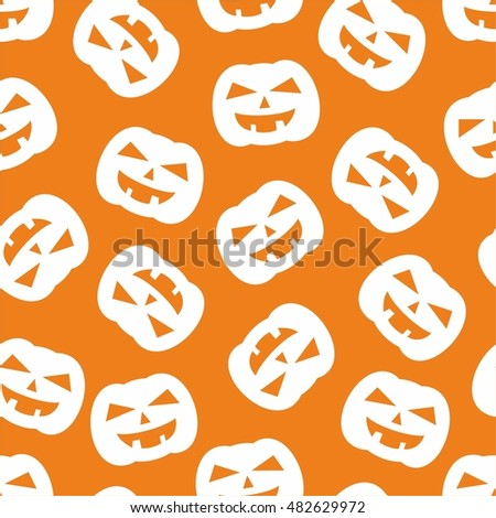 Halloween tile vector pattern with white pumpkin on orange background