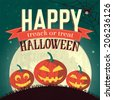 Halloween time background concept in retro style. Vector illustration design  - stock