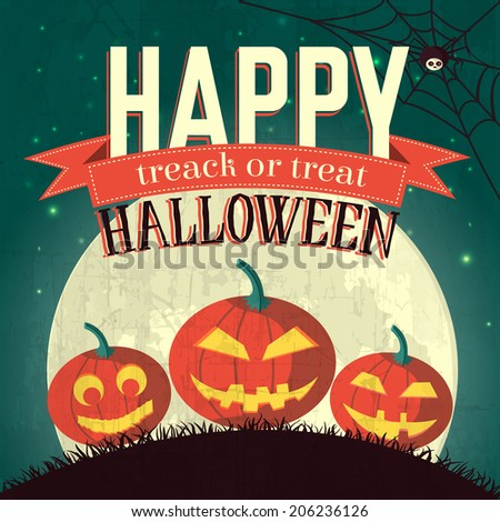 Halloween time background concept in retro style. Vector illustration design  - stock vector