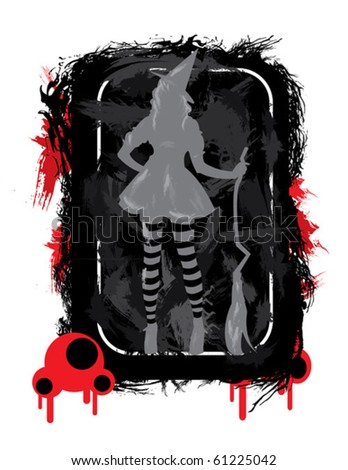 halloween time spooky illustration with witch - stock vector
