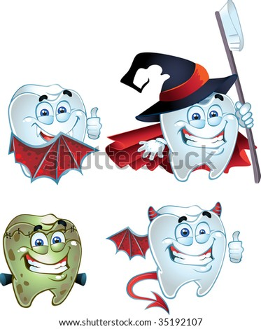 Halloween Tooth character dressed in fun costumes - stock vector