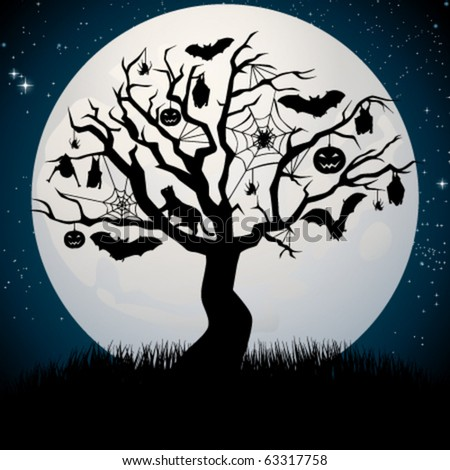 Halloween tree - stock vector