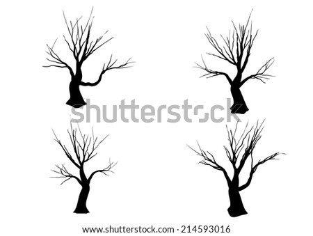 Halloween tree Silhouette isolated on white background (Waving) - stock vector