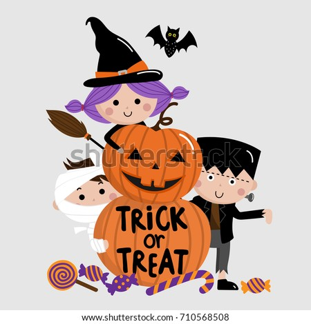 Halloween Trick Treat Kids Pumpkin Vector Stock Vector 710568508 ...