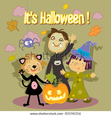halloween trick or treat kids greeting card