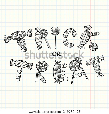 Halloween trick treat lettering composition letters stock vector halloween trick or treat lettering composition letters made by candles lolly pops and other spiritdancerdesigns Choice Image
