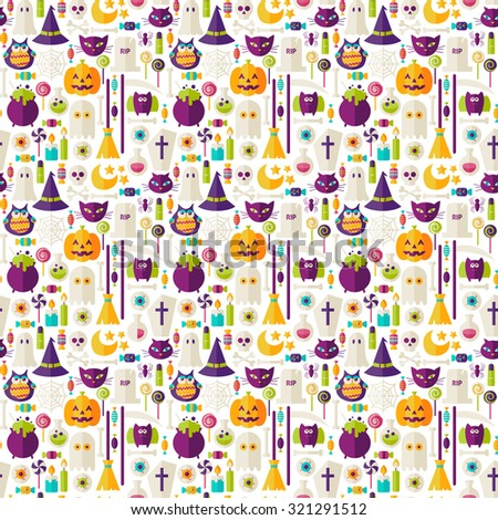Halloween Trick or Treat Objects Seamless Pattern. Flat Design Vector Seamless Texture Background. Halloween Holiday Template.  - stock vector